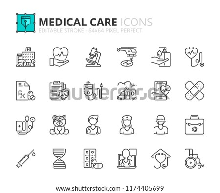 Outline icons about hospital and medical care. Editable stroke. 64x64 pixel perfect.