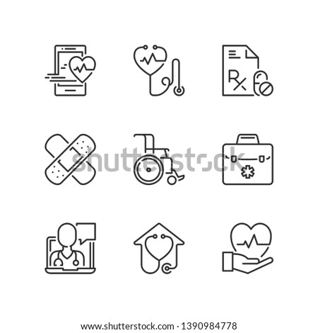 Outline icons about medicine. Health care