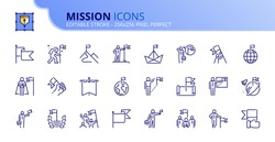 Outline icons about mission. Business concepts. Contains such icons as businessman with flag, achievement and goal. Editable stroke Vector 256x256 pixel perfect