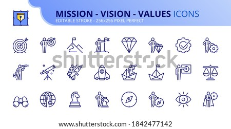 Outline icons about mission, vision and values. Business concepts. Contains such icons as businessman with binoculars, compass, spyglass, target and flag. Editable stroke Vector 256x256 pixel perfect