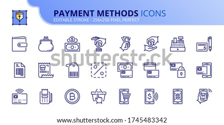 Outline icons about payment methods. Shopping. Contains such icons as wallet, coin, credit card, money, one click, check and contactless biometric payment. Editable stroke Vector 256x256 pixel perfect