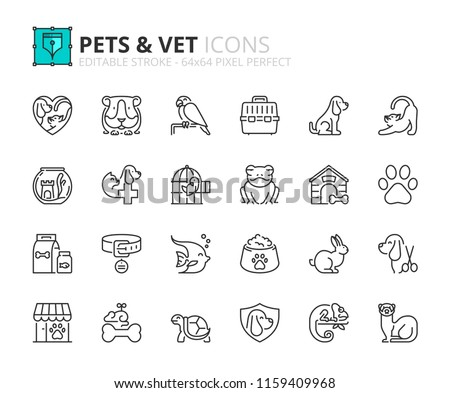 Outline icons about pets and vet. Pet care. Editable stroke. 64x64 pixel perfect.