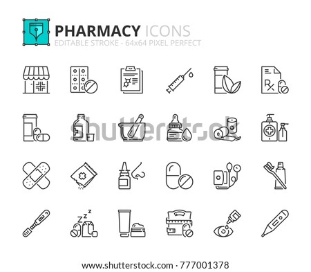 Outline icons about pharmacy. Editable stroke. 64x64 pixel perfect.