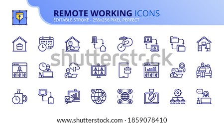 Outline icons about remote working. Business concepts. Contains such icons as work at home, outsourcing, freelance, video meeting and remote team. Editable stroke Vector 256x256 pixel perfect