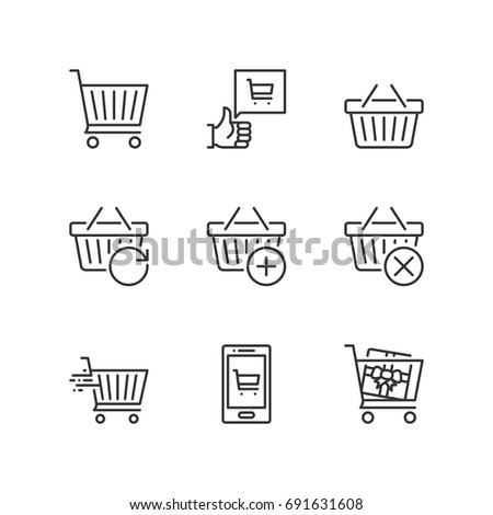 Outline icons about shopping cart.