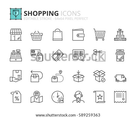 Outline icons about shopping. Editable stroke. 64x64 pixel perfect.