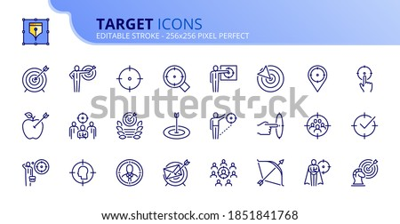 Outline icons about target. Business concepts. Contains such icons as businessman with dart, marketing, goal, targeting strategy and audience.  Editable stroke Vector 256x256 pixel perfect