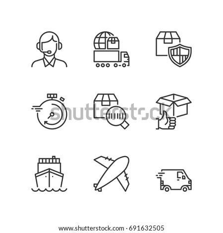 Outline icons about transport service. Fast delivery by air, road  and sea