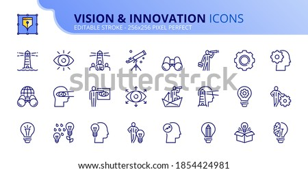 Outline icons about vision and innovation. Business concepts. Contains such icons as businessman with idea, creativity, development and global vision. Editable stroke Vector 256x256 pixel perfect