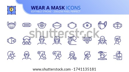 Outline icons about wear a mask. COVID-19 prevention. Contains such icons as how wear and remove the mask, and the different types of face masks. Editable stroke. Vector - 256x256 pixel perfect.