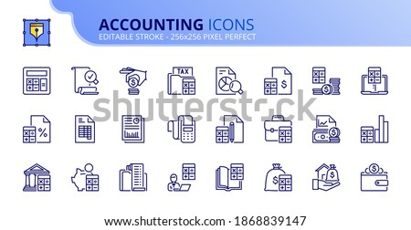 Outline icons accounting. Finances. Contains such icons as calculator, money, audit, tax, assets, revenue, payable, credit, expenditure and ledger. Editable stroke Vector 256x256 pixel perfect