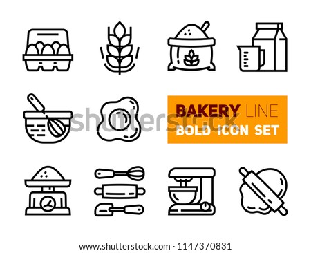Outline icons set of bakery accessories. Vector collection, modern stroke pictogram of rolling, scapula, dough, weights, mixer, dough, rolling and other kitchen utensils. Concept bold outline symbols.