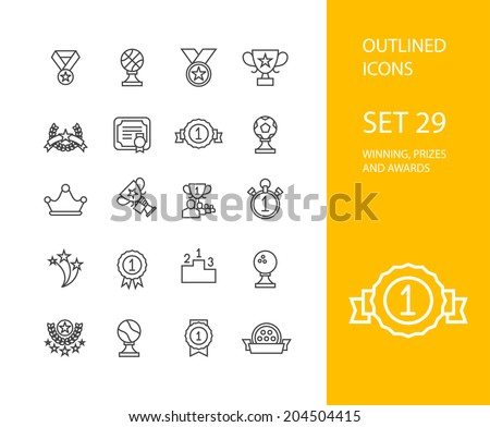 Outline icons thin flat design modern line stroke style web and mobile design element objects and vector illustration icons set 28 winning prizes and awards collection