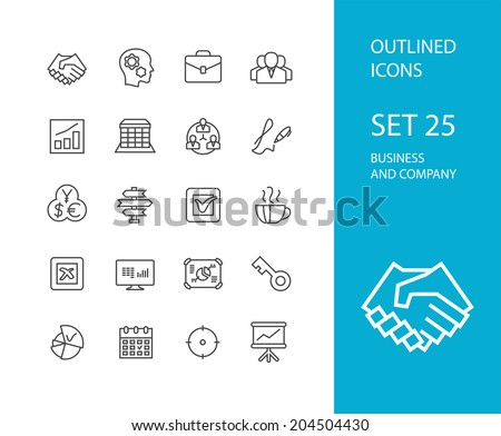 Outline icons thin flat design modern line stroke style web and mobile design element objects and vector illustration icons set 25 business and company collection