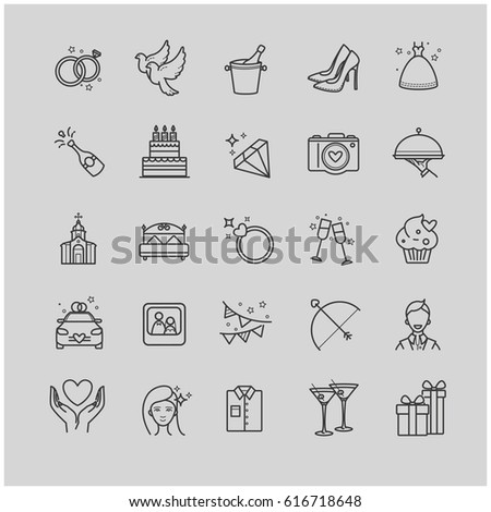 Outline icons - wedding, love set for your design