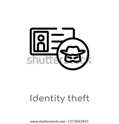 outline identity theft vector icon. isolated black simple line element illustration from cyber concept. editable vector stroke identity theft icon on white background