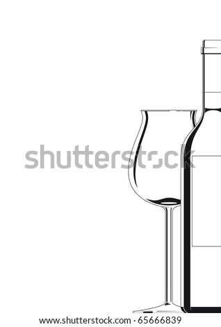 outline illustration of a bottle of wine and a glass