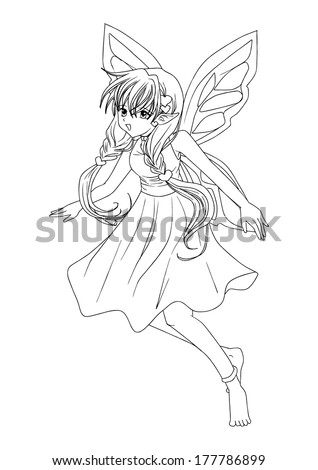 outline illustration of a pixie
