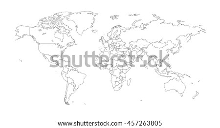 White outline world map vector download free vector art stock outline illustration of the world with country borders gumiabroncs Choice Image