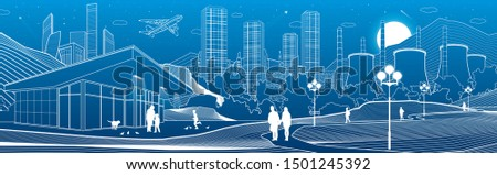 Outline industry and city illustration panorama. Evening town urban scene. People walking at garden. Night shop. Power Plant in mountains. White lines on blue background. Vector design art Сток-фото ©