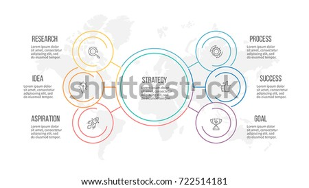 Outline infographic. Organization chart with 6 options, sections. Vector template.