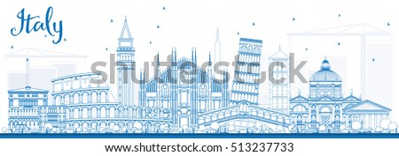 outline italy skyline with blue