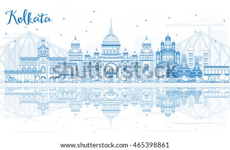 outline kolkata skyline with