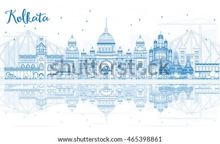 outline kolkata skyline with