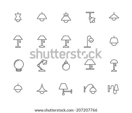 outline lamp icon set   vector
