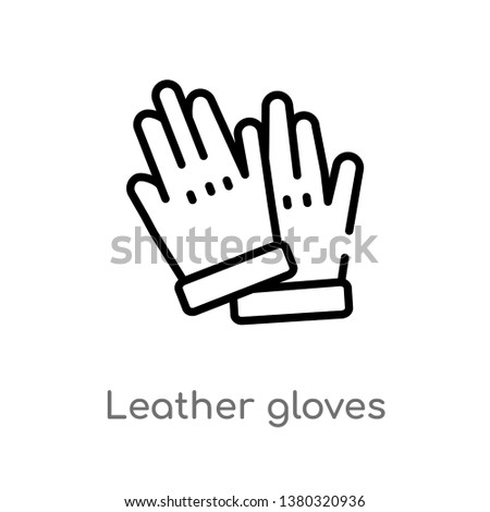 outline leather gloves vector icon. isolated black simple line element illustration from clothes concept. editable vector stroke leather gloves icon on white background