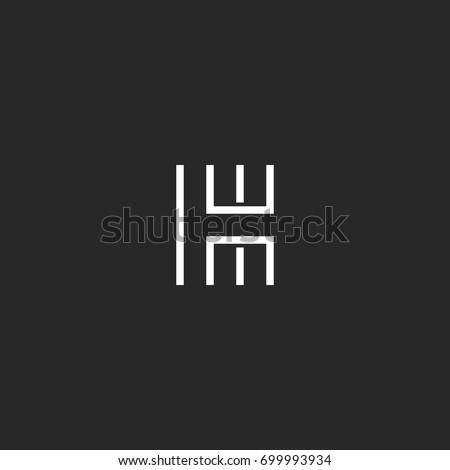 Outline letter H logo modern monogram, thin line shape typography design element, business card linear emblem mockup