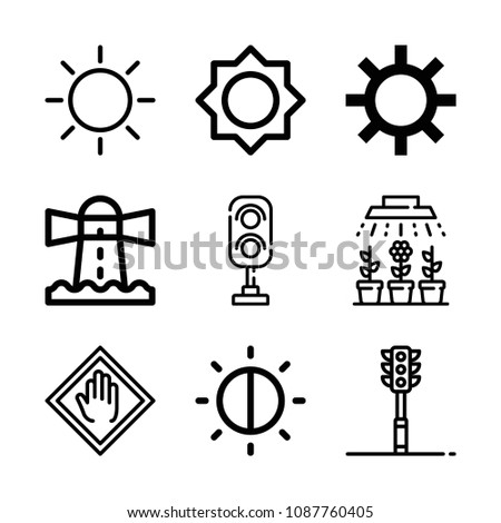 Outline light icon set such as lighthouse, brightness, traffic light, stop #1087760405