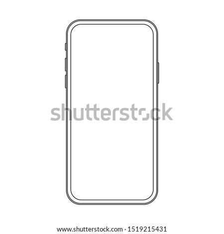 Outline line drawing modern smartphone. Elegant thin stroke line style design