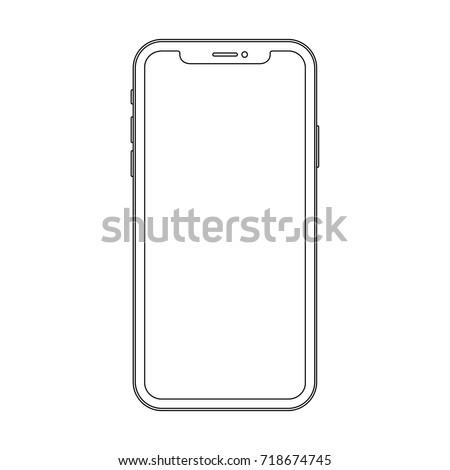 Outline line drawing modern smartphone. Elegant thin stroke line style design.