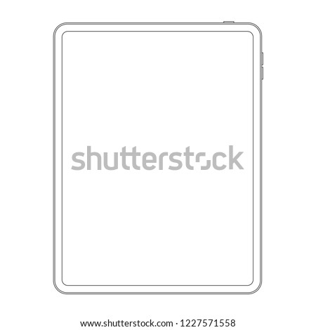 Outline line style of new version vector tablet computer isolated.