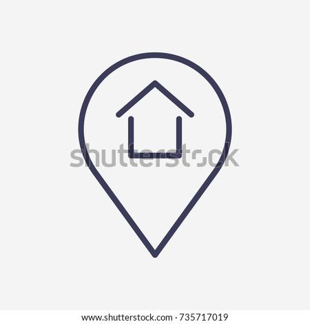 Outline location  home icon illustration vector symbol