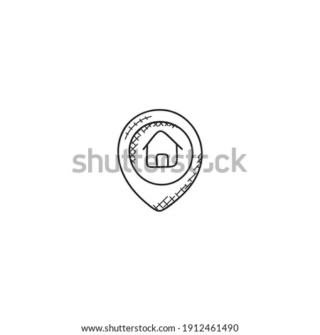 Outline location icon illustration vector symbol for website, mark, point, position Foto stock ©