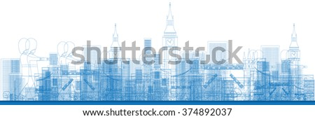 outline london skyline with