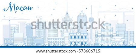 outline macau skyline with blue