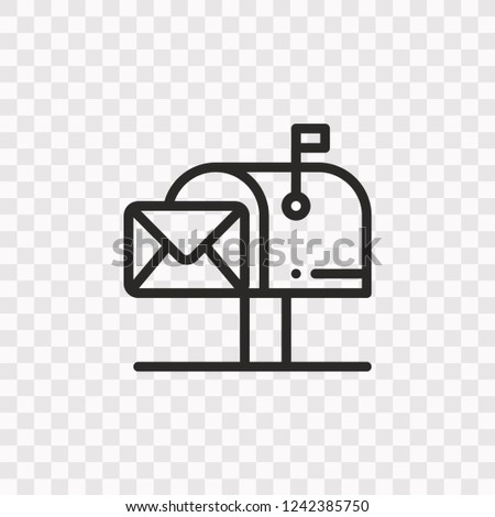 Outline Mailbox icon. Vector illustration style is flat iconic symbol, black color, transparent background. Designed for web and software interfaces. Editable stroke. Eps10