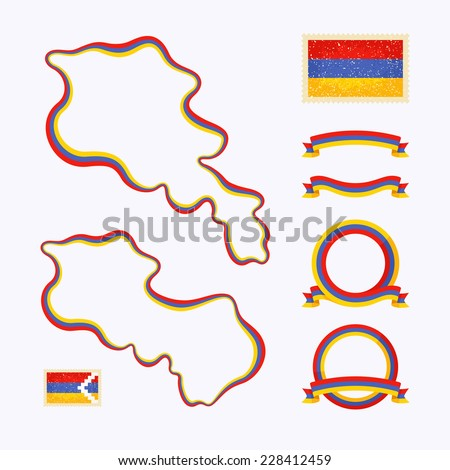 Outline Map Of Armenia Border Is Marked With Ribbon In National - Package of map colors