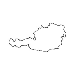 Outline map of Austria white background. Vector map with contour.