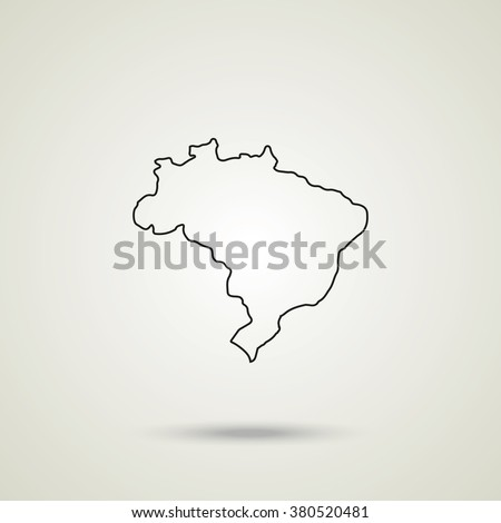 Outline map of Brazil vector icon isolated on grey background