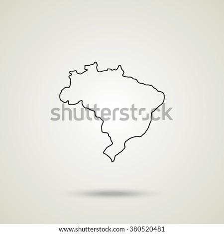 outline map of brazil vector