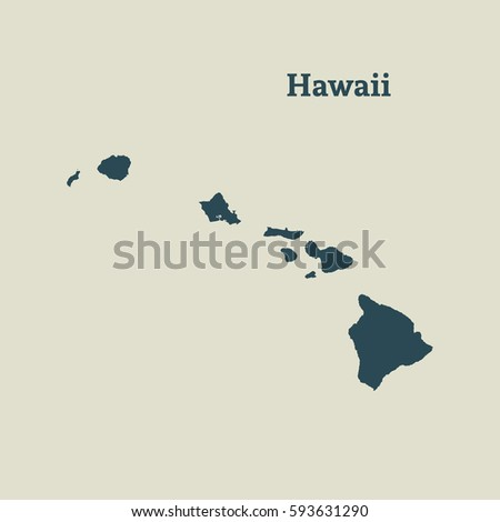 outline map of hawaii isolated