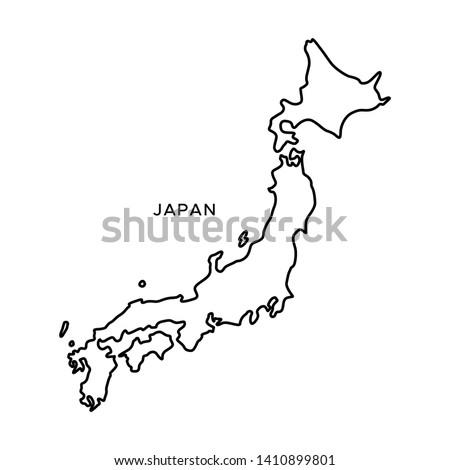 Outline Map of Japan Vector Design Template. Editable Stroke