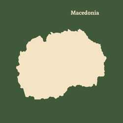 Outline map of Macedonia. Isolated vector illustration.