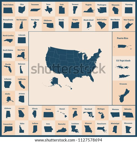 Outline map of the United States of America. 50 States of the USA. US map with state borders. Silhouettes of the USA and Guam, Puerto Rico, US Virgin Islands. Vector illustration.  Zdjęcia stock ©