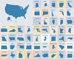 Outline map of the United States of America. States of the USA. Vector illustration.US map with state borders. usa silhouette.New York, Hawaii, Puerto Rico, Pennsylvania and other states.