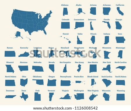 Outline map of the United States of America. States of the USA. Vector illustration.US map with state borders. usa silhouette